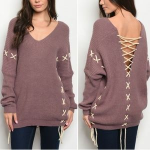 GIRY & FLIRTY LACE UP MAUVE TUNIC SWEATER